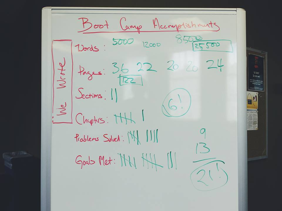 Boot Camp Accomplishments whiteboard showing the 85,000 words, 122 pages, and many chapters written and goals met